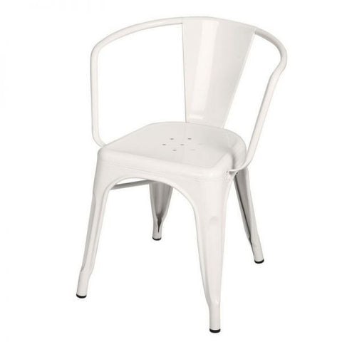 Glossy White Metal Stacking Dining Chairs (Set Of 2)