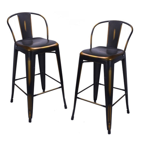 Antique Copper Metal Barstool With Back (Set of 2)