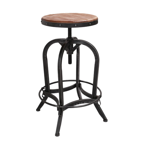 Rustic Metal Bar Stool with Wooden Top