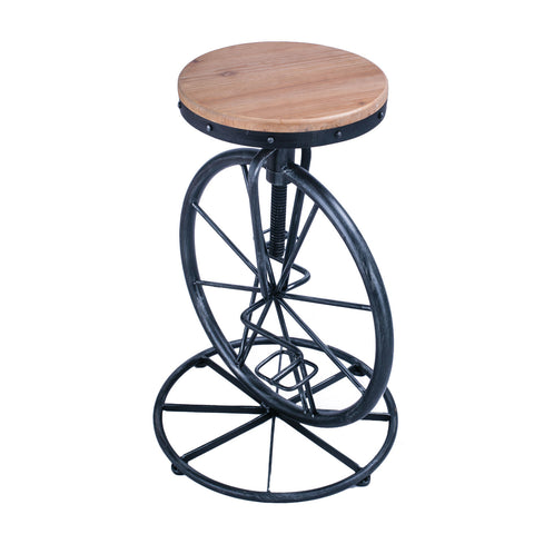 Rustic Metal Unicycle Bar Stool with Wooden Top