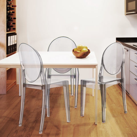 Ghost Side / Dining Chairs with Round Back (Clear) - Set of 2