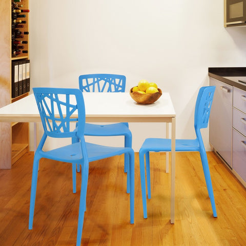 Abstract Stacking Dining Chairs (Blue) - Set of 2