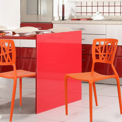 Abstract Stacking Dining Chairs (Orange) - Set of 2