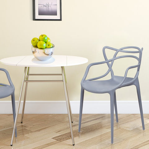 Designer Abstract Stacking Dining Chairs (Grey) - Set of 2