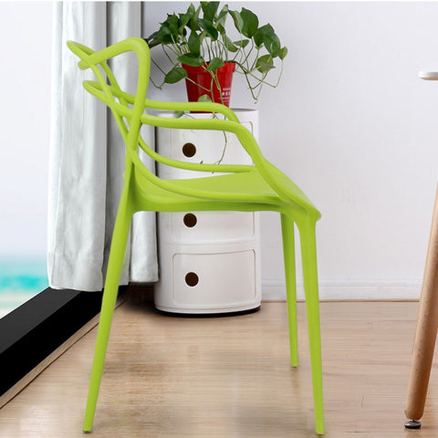 Designer Abstract Stacking Dining Chairs (Green) - Set of 2