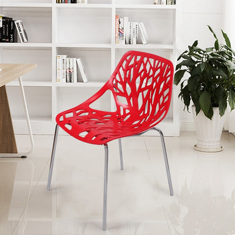 Red Tree Cucoloris Design Modern Dining Chairs with Chrome Legs (Set of Two)