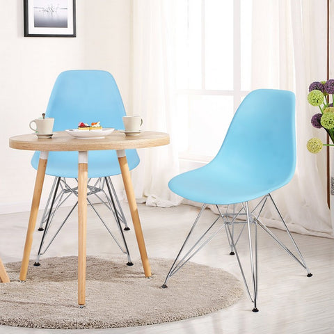 Light Blue Charles & Ray Eame Modern Dining Chairs with Chrome Legs (Set of Two)