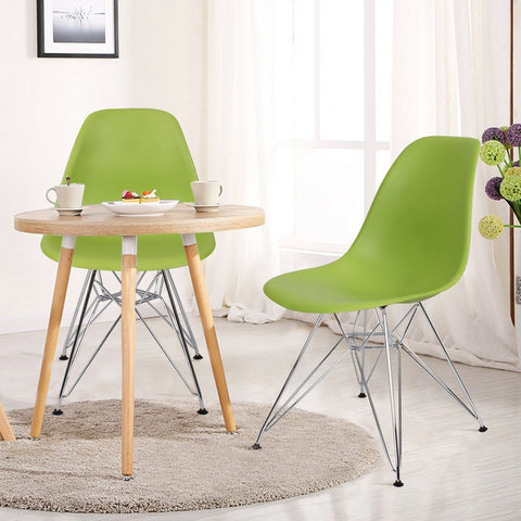 Green Charles & Ray Eame Modern Dining Chairs with Chrome Legs (Set of Two)
