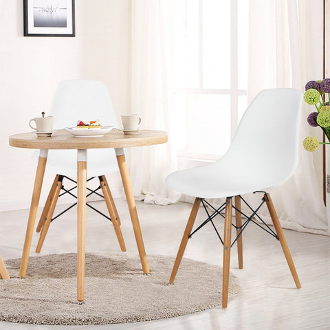 White Charles & Ray Eames Modern Dining Chairs with Birch Wood Legs (Set of Two)