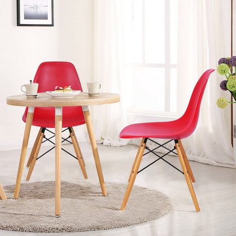 Red Charles & Ray Eames Modern Dining Chairs with Birch Wood Legs (Set of Two)
