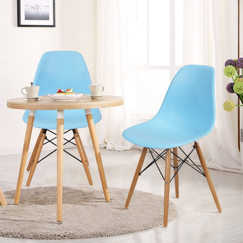 Light Blue Charles & Ray Eames Modern Dining Chairs with Birch Wood Legs (Set of Two)