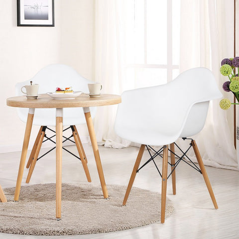 White Charles & Ray Eames Modern Dining Chairs / Armchairs with Birch Wood Legs (Set of Two)