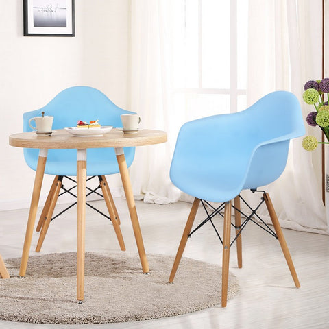 Light Blue Charles & Ray Eames Modern Dining Chairs / Armchairs with Birch Wood Legs (Set of Two)