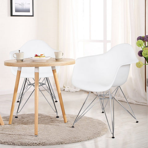 White Charles & Ray Eames Modern Dining Chairs / Armchairs with Chrome Legs (Set of Two)
