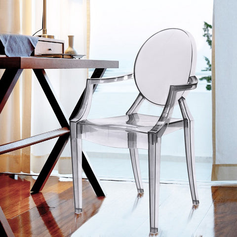 Clear Ghost Modern Dining Chairs / Armchairs (Set of Two)
