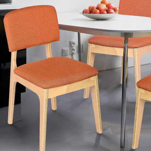 Bentwood Dining Chair with Orange Linen Back Support & Seat