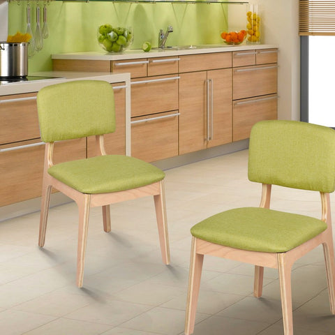 Bentwood Dining Chair with Green Linen Back Support & Seat
