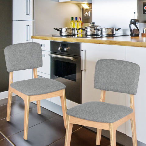 Bentwood Dining Chair with Grey Linen Back Support & Seat