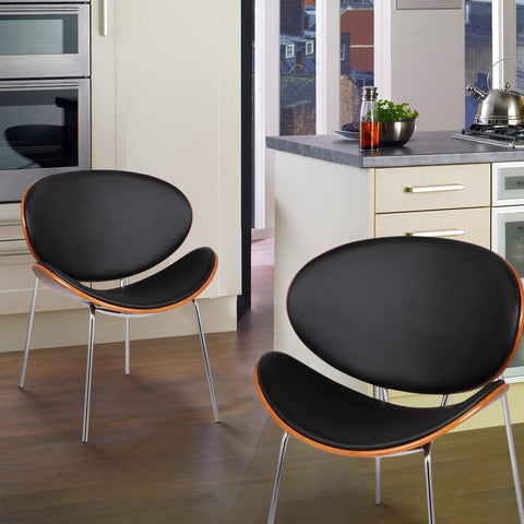 Bentwood Chairs with Curved Black Seat & Back (Set of 2)