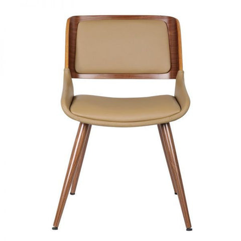 Bentwood Chair With Beige Leatherette Back Support & Seat