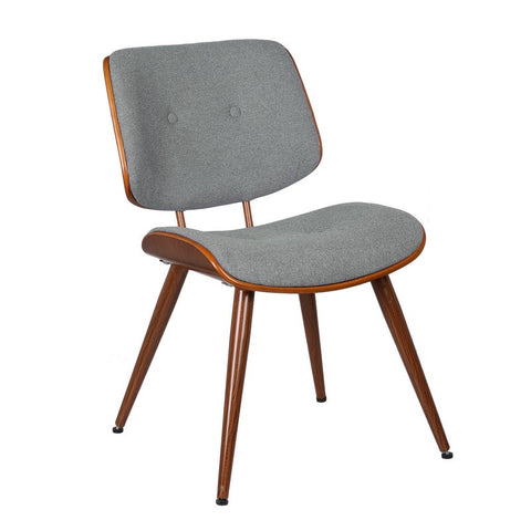 Bentwood Dining Chair with Grey Wool-Like Frabric Support & Seat
