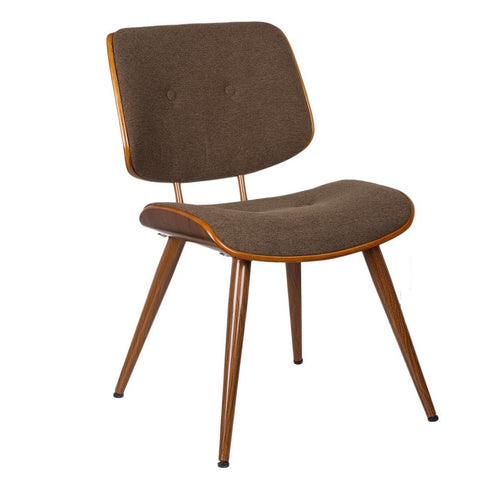 Bentwood Dining Chair with Coffee Wool-Like Frabric Support & Seat