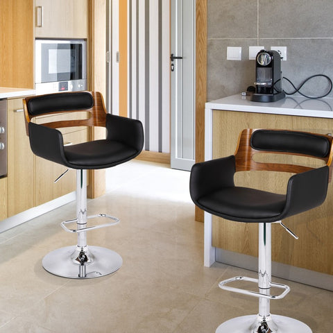 Bentwood Swivel & Adjustable Barstool with Black Leatherette Seat
