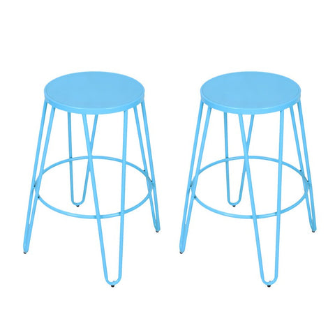 Blue 26-inch Metal Counter Stools (Set of Two)