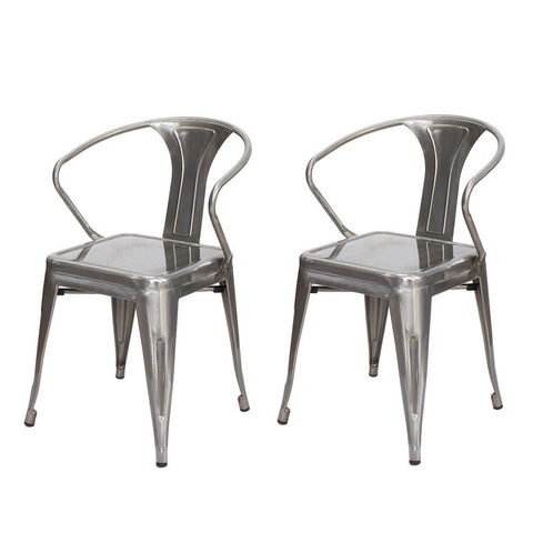 Gunmetal / Natural Durable Powder Coated Finish Metal Chair (Set of Two)