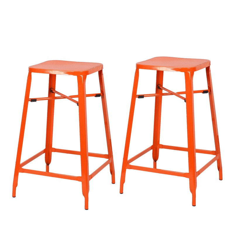 Consumer Orange 26 Inch Metal Counter Stools Bar Stools