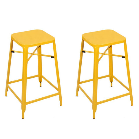 Yellow 26-inch Metal Counter Stools (Set of Two)