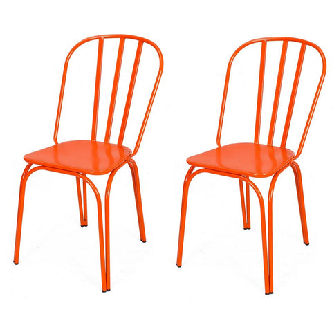 Orange Metal Chair (Set Of Two)