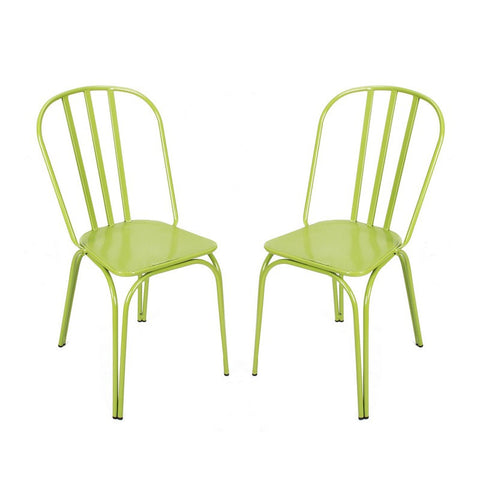 Green Metal Chair (Set Of Two)