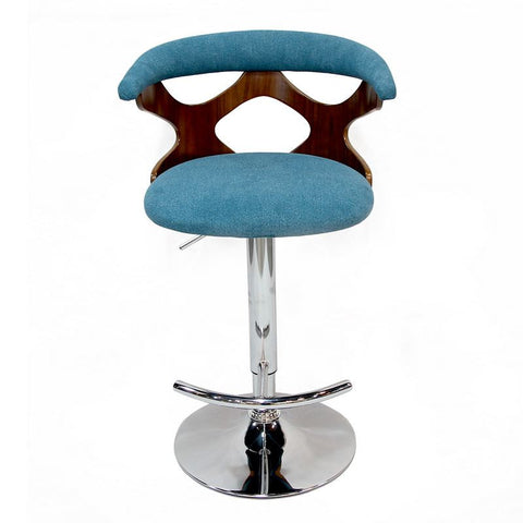 Blue Adjustable Plywood Bar Stool With Fabric