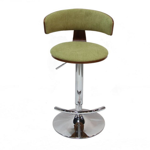 Yellow to Green Adjustable Plywood Bar Stool With Fabric