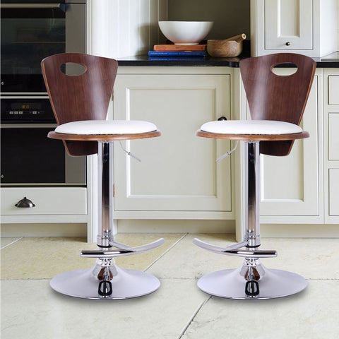 Adjustable Height Plywood Bar Stool With White PU