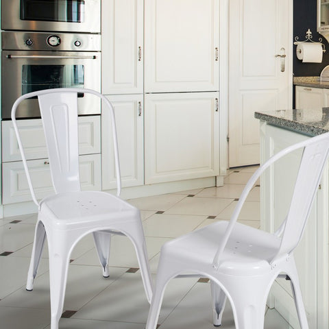 Glossy White Metal Stackable Industrial Chic Dining Chair Outdoor and Indoor Set of Two