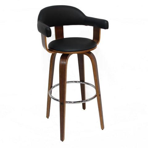 Wood Frame & Black Seat PU Bar Stools