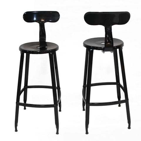 Black Metal Bar Stool with Back (Set of Two)