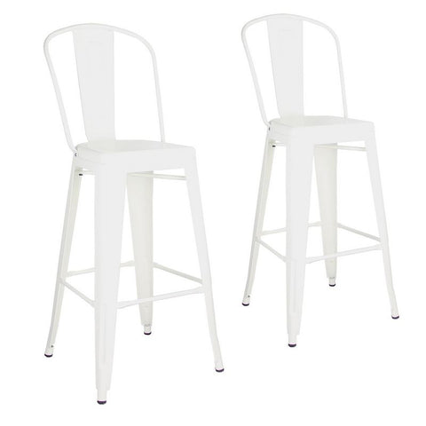Glossy White Metal Bar Stools with Back (Set of Two)
