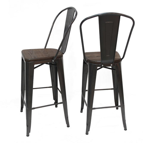 Glossy Bronze Metal Bar Stool with Back & Wooden Seat (Set of Two)