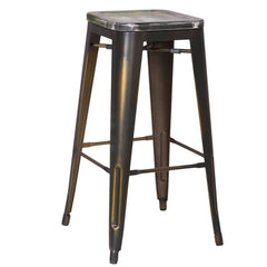 Antique Copper Metal Bar Stools with Multi-Color Wooden Seat (Set of Two) - YourBarStoolStore + Chairs, Tables and Outdoor  - 1