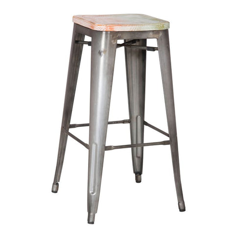 Galvanized Steel Metal Bar Stools with Multi-Color Wooden Seat (Set of Two)