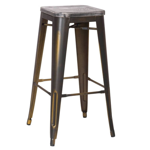 Antique Copper Metal Bar Stools with Dark Wooden Seat (Set of Two)