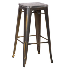 Antique Copper Metal Bar Stools with Dark Wooden Seat (Set of Two) - YourBarStoolStore + Chairs, Tables and Outdoor  - 1