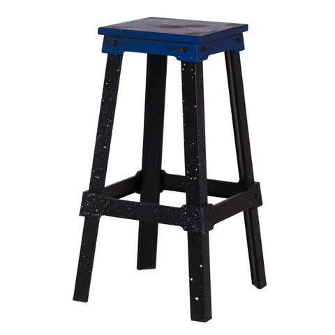 Blue Industrial Metal Bar Stool