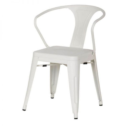White Metal Stacking Dining Chairs (Set Of Two)