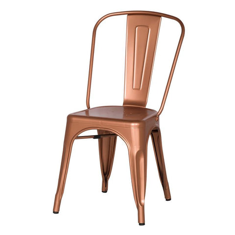 Copper Metal Stacking Dining Chairs (Set of Two)