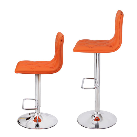 Orange Fabric Adjustable Bar Stools (Set of 2)