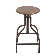 Adjustable Logan Metal Stool With bamboo Seat - YourBarStoolStore + Chairs, Tables and Outdoor  - 1